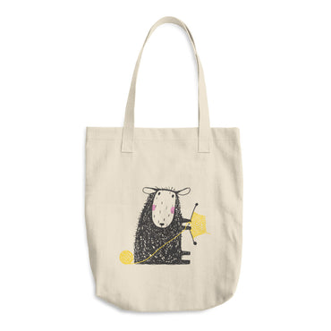 Sheep Knitting with Yellow Yarn Cotton Tote Bag