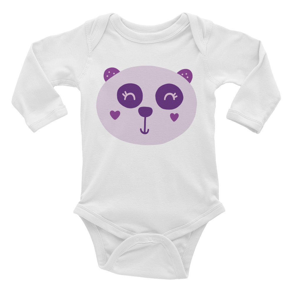 Purple Panda Infant Long Sleeve Bodysuit