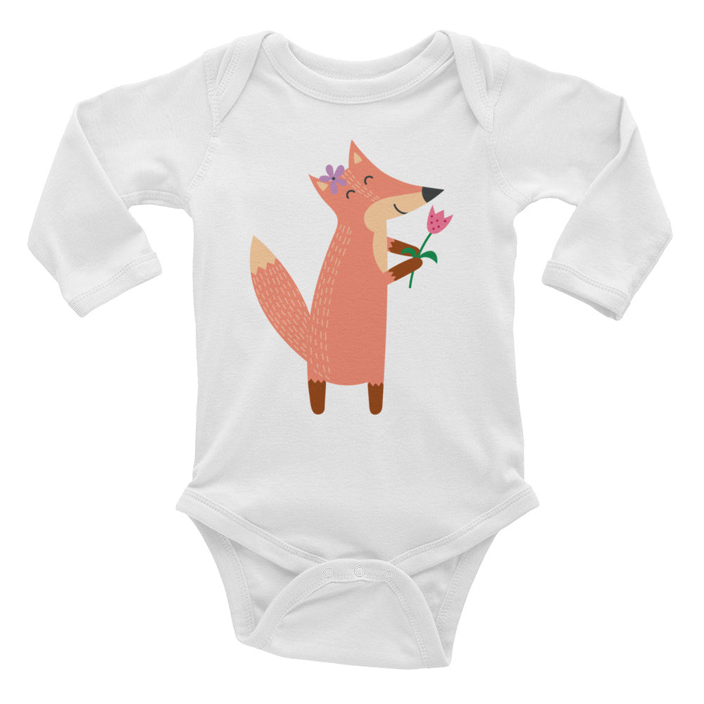 Fox with Flower Infant Long Sleeve Bodysuit