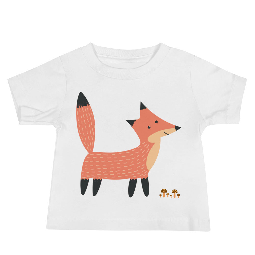 Fox Standing by Mushrooms Baby Jersey Short Sleeve Tee