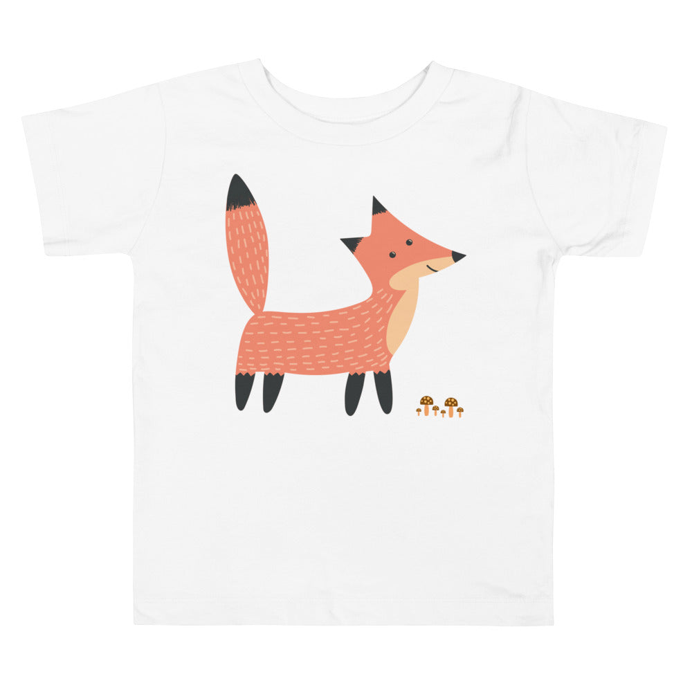 Fox Standing by Mushrooms Toddler Short Sleeve Tee