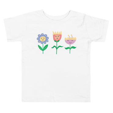Smiling Flowers Toddler Short Sleeve Tee