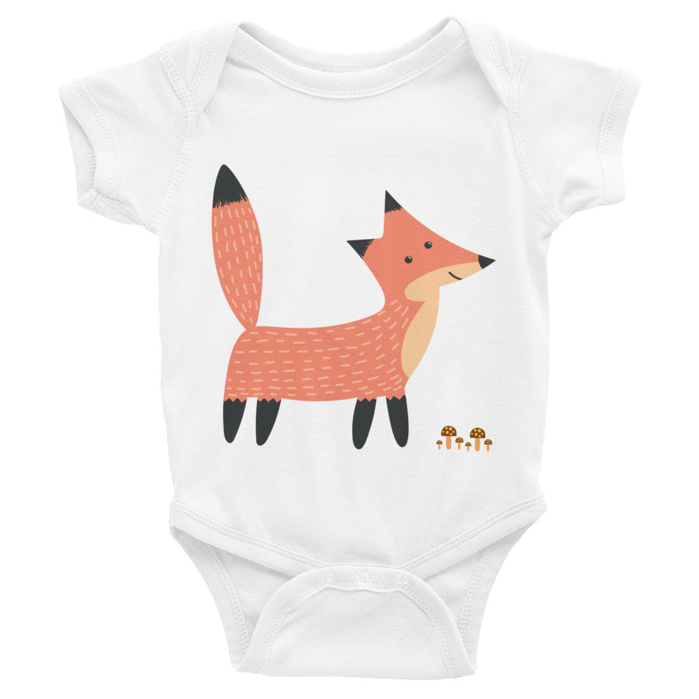 Fox Standing by Mushrooms Infant Bodysuit