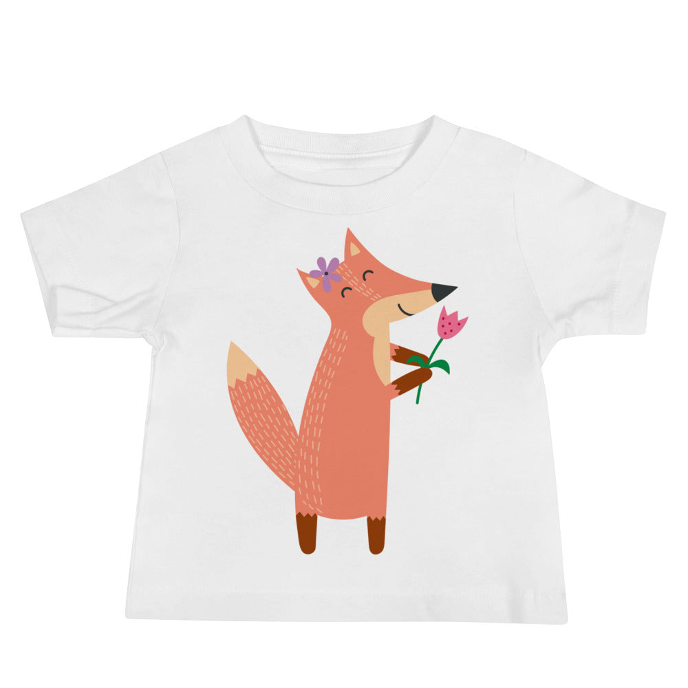 Fox with Flower Baby Jersey Short Sleeve Tee