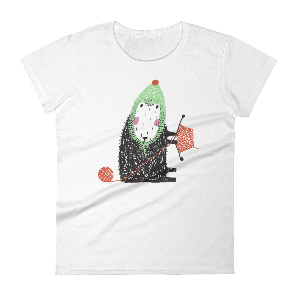 Green Hat Wearing Sheep Knitting Women's Short Sleeve Tee