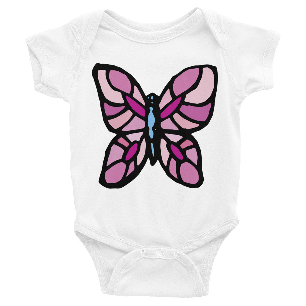 Pink Butterfly Infant Onesie Bodysuit