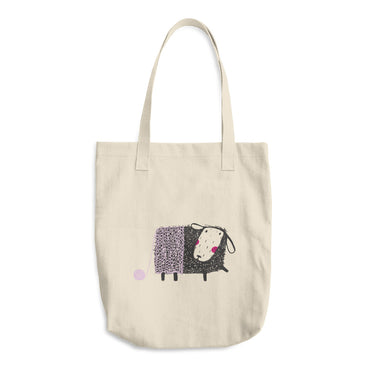 Sheep with Lavender Yarn Cotton Tote Bag