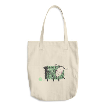 Sheep with Mint Green Yarn Cotton Tote Bag