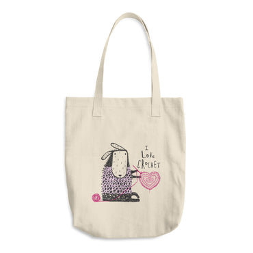 I Love Crochet Cotton Tote Bag - Featuring a Crocheting Sheep