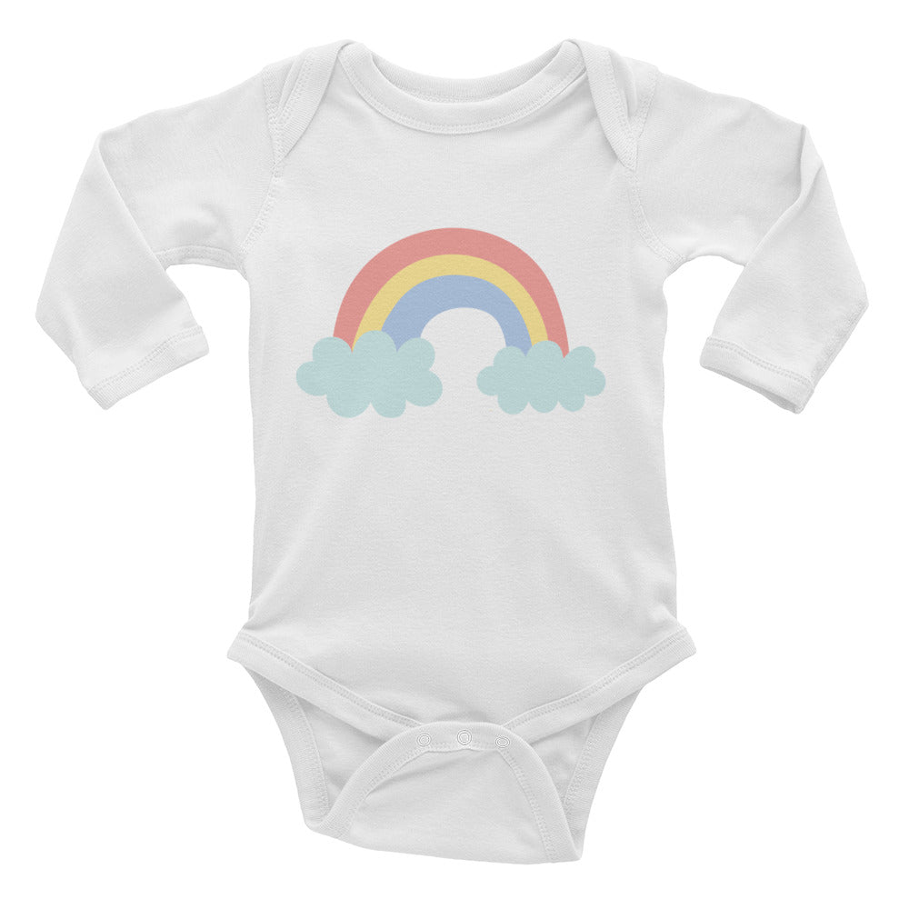 Red - Yellow - Blue Pastel Rainbow Infant Long Sleeve Bodysuit