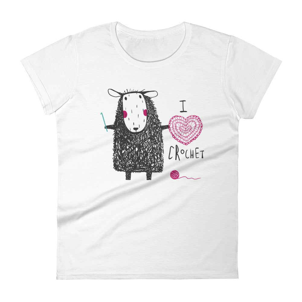 I Heart Crochet Sheep Women's Short Sleeve Tee