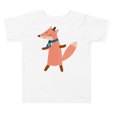 Scarf Wearing Fox Toddler Short Sleeve Tee