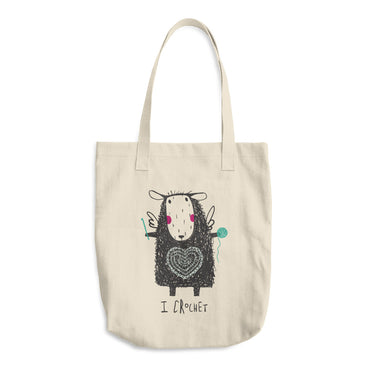 Crochet Loving Sheep Angel Cotton Tote Bag