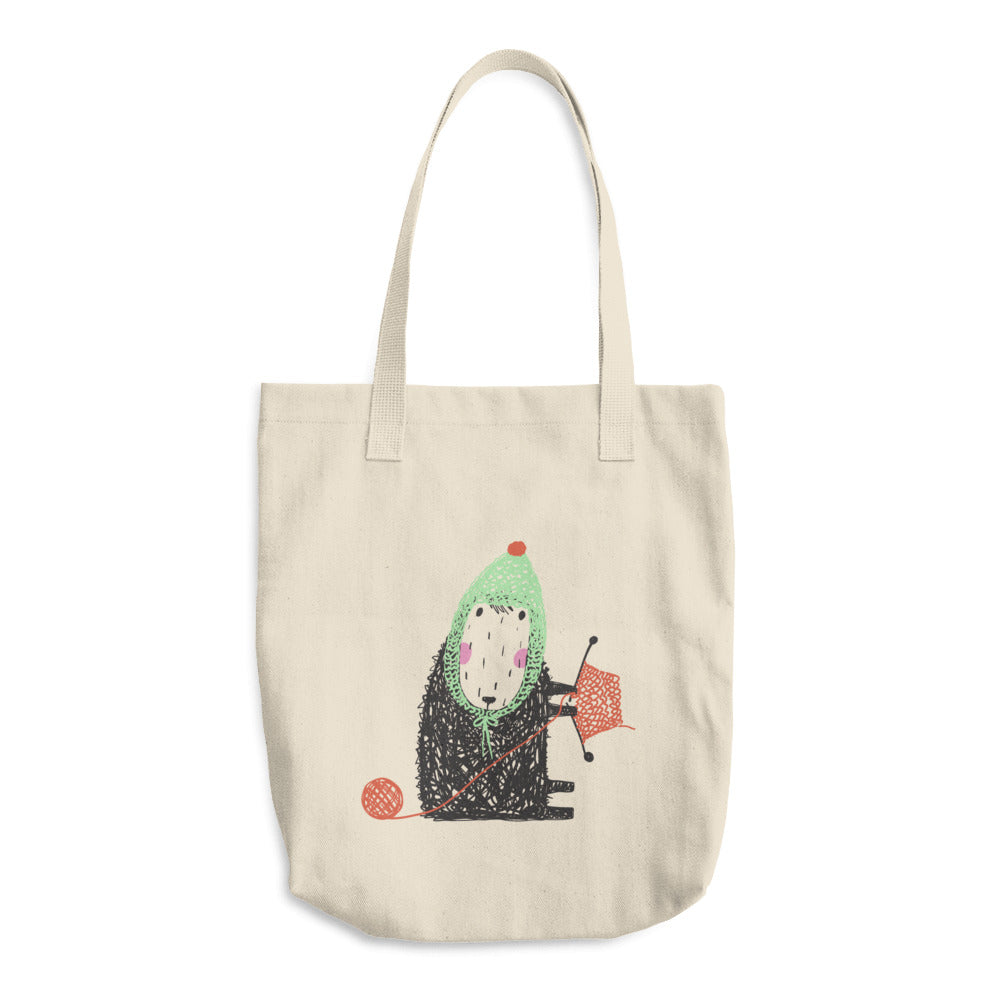 Knitting Sheep Wearing Mint Green Hat Cotton Tote Bag