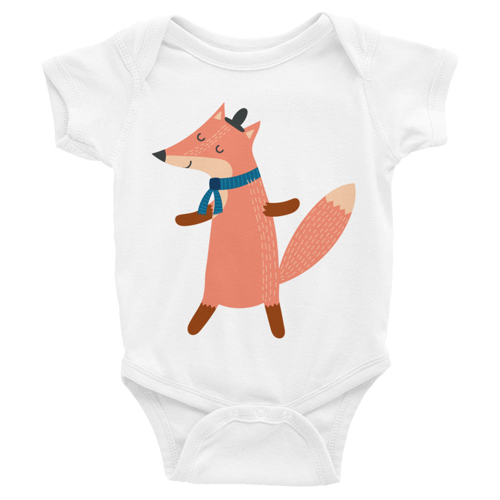 Scarf Wearing Fox Infant Bodysuit