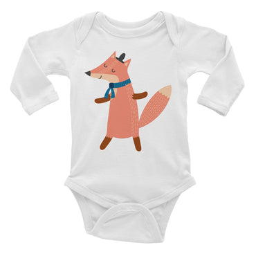 Scarf Wearing Fox Infant Long Sleeve Bodysuit