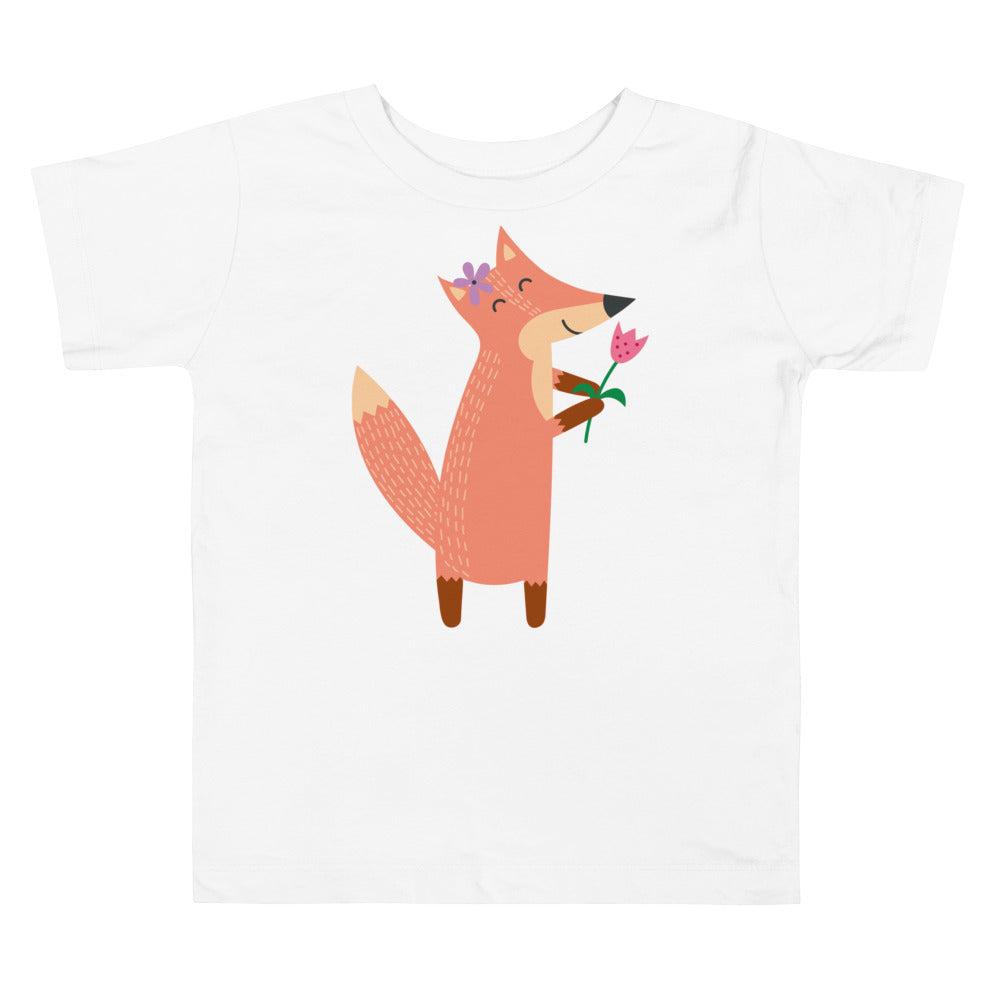 Fox with Flower Toddler Short Sleeve Tee
