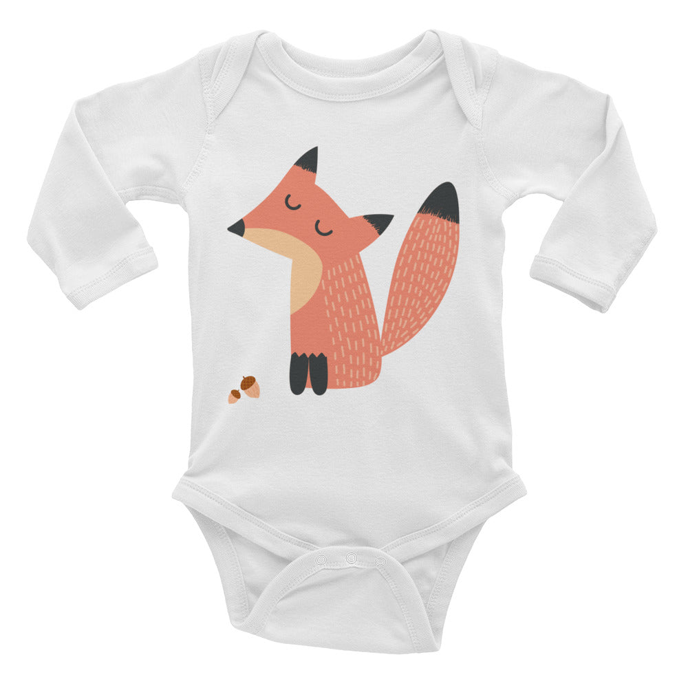 Fox with Acorn Infant Long Sleeve Bodysuit