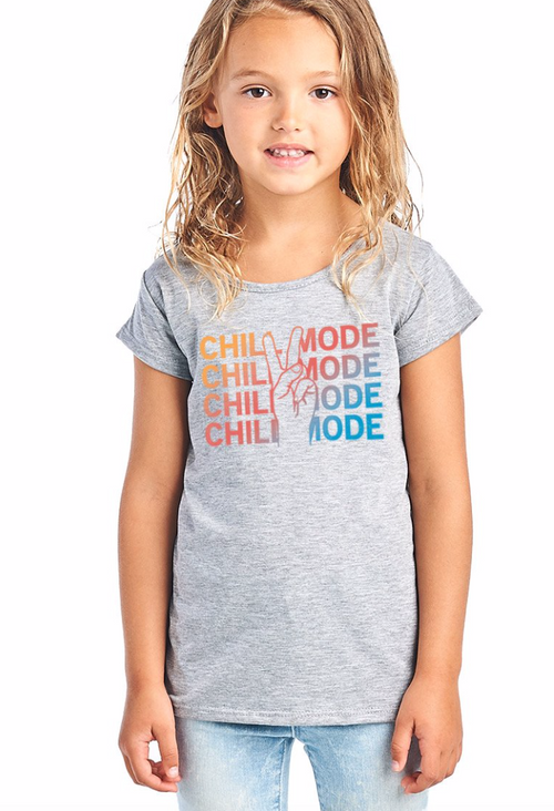 Chill Mode Peace Sign Tee for Girls