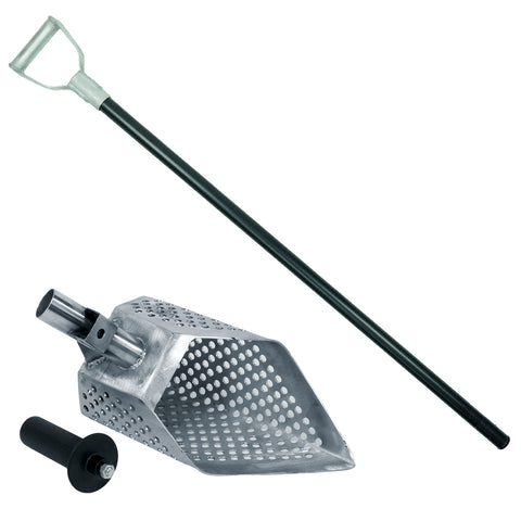 "Dune Anaconda 11 x 6.5"" Metal Detector Sand Scoop with Hexagon Holes & Carbon Fiber Rod with Aluminum Handle"