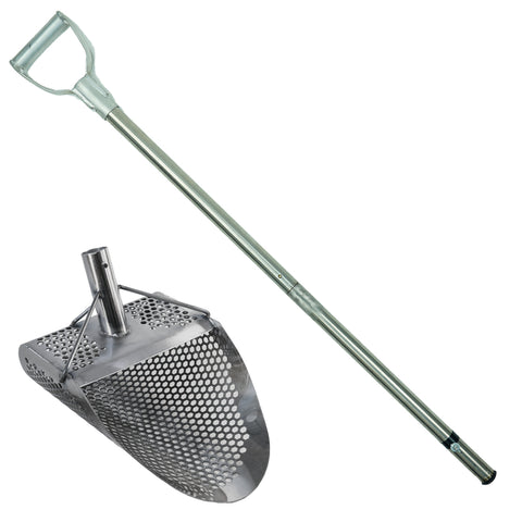 "Dune Kraken 11"" x 8"" Stainless Metal Detector Sand Scoop w/ Sm Hexagon Holes and Dune Large & Strong Collapsible Stainless Steel Handle Universal Pole"