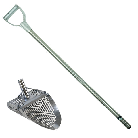 Dune Hydra 11x8 Stainless Metal Detector Sand Scoop w/ Lg Hexagon Holes w/ Large & Strong Collapsible Stainless Steel Handle Universal Pole