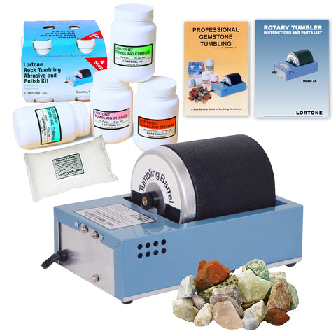 Lortone Model 3A Rock Tumbler Kit with Abrasives, Polish and Stones