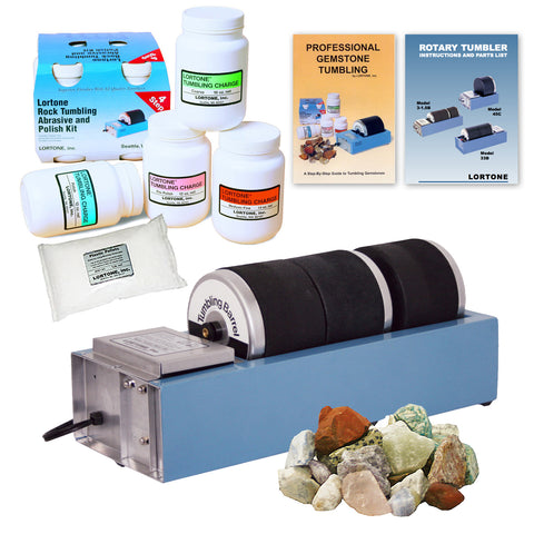 Lortone Model 3-1.5 Rock Tumbler Kit w/ Abrasives, Polish and Stones