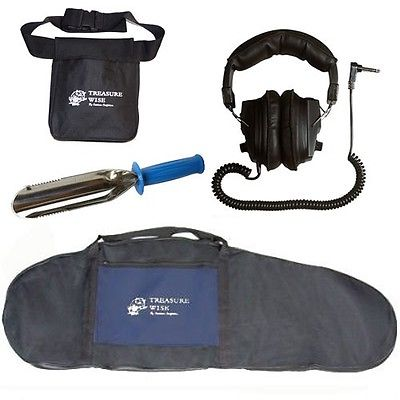 Metal Detector Package Deluxe Padded Bag, Finds Pouch, Headphones & Trowel
