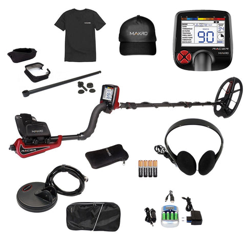 Makro Racer Metal Detector Pro Package w/ 2 Waterproof Search Coils & Extras