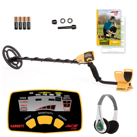 Garrett ACE 150 Metal Detector with Headphones and Submersible Search Coil