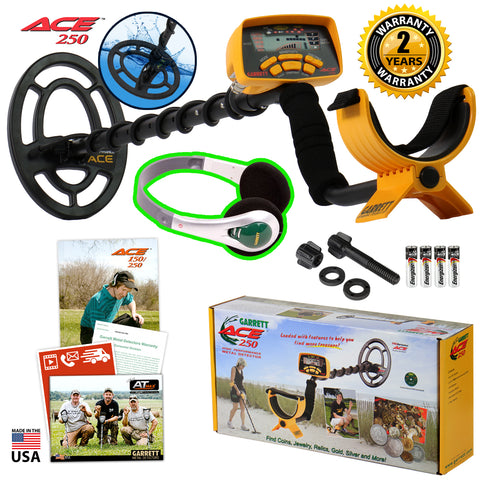Garrett ACE 250 Metal Detector w/ Waterproof Coil and Treasure Sound Headphones