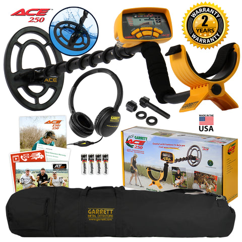 Garrett ACE 250 Metal Detector w/ Waterproof Coil, Headphones, Carry Bag