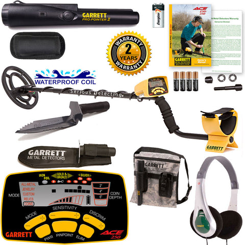Garrett ACE 250 Detector Edge Digger, Pro Pointer II, Pouch & Headphones Package