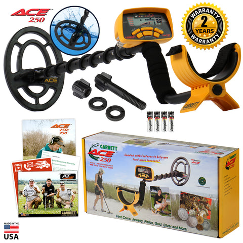 "Garrett ACE 250 Metal Detector with 6.5"" x 9"" PROformance Submersible Coil"