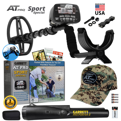"Garrett AT Pro Sport Special w/ 5x8"" DD Search Coil, Camo Hat and Pro Pointer II"