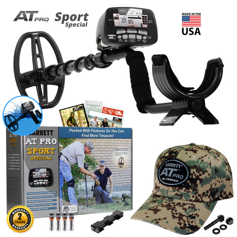 "Garrett AT Pro Sport Special w/ 5x8"" DD PROformance Search Coil & Camo Hat"