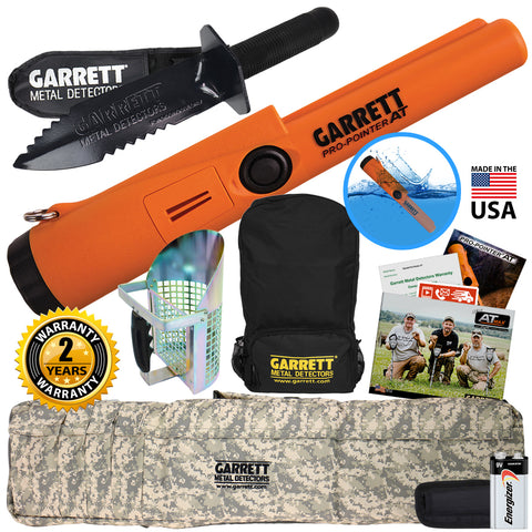Garrett Pro Pointer AT w/ Backpack, Camo Softcase, Digger, Sand Scoop & Pouch