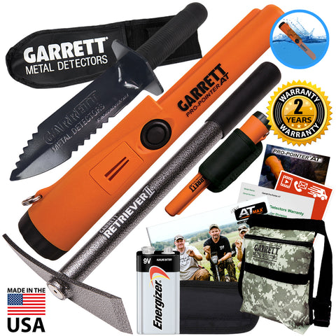 Garrett ProPointer AT Waterproof Pinpointer with Camo Pouch, Edge Digger & Pick