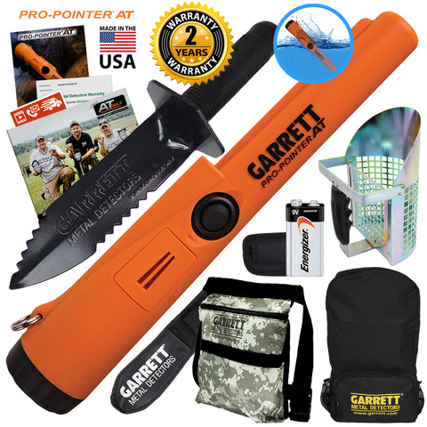 Garrett ProPointer AT Waterproof Pinpointer w/ Pouch, Digger, Scoop and Backpack