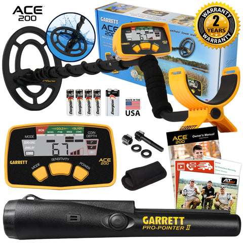 Garrett ACE 200 Metal Detector with Waterproof Search Coil and Pro Pointer II