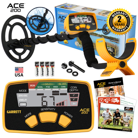 "Garrett ACE 200 Metal Detector with 6.5"" x 9"" PROformance Waterproof Search Coil"