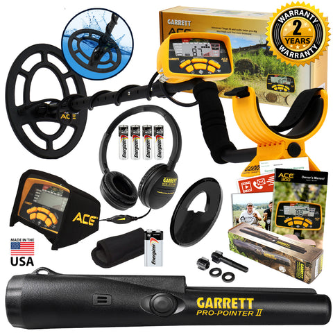 Garrett ACE 300 Metal Detector with Waterproof Search Coil and Pro Pointer II