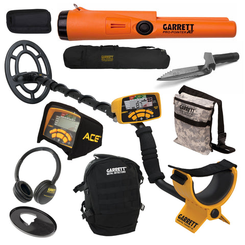 Garrett ACE 300 Metal Detector w/ Coil, ProPointer AT, Daypack & Accessories