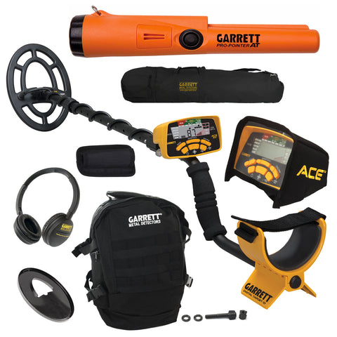 Garrett ACE 300 Metal Detector w/ Coil, Pro-Pointer AT, Daypack & Carry Bag