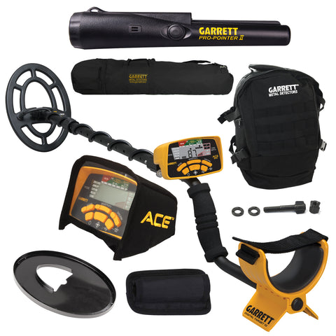 Garrett ACE 300 Metal Detector w/ Coil, Pro-Pointer II, Daypack & Carry Bag