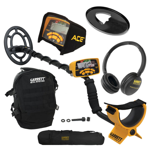 Garrett ACE 300 Metal Detector w/ Black Daypack, Search Coil & Carry Bag