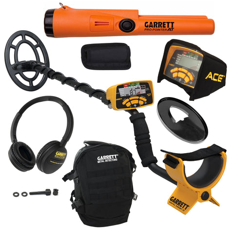Garrett ACE 300 Metal Detector w/ Black Daypack, Search Coil & Pro-Pointer AT
