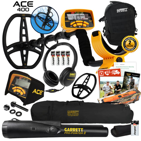 Garrett ACE 400 Metal Detector w/ Coil, Pro-Pointer II, Daypack & Accessories