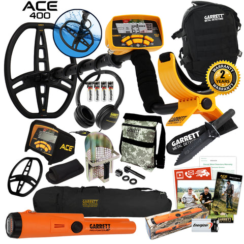 Garrett ACE 400 Metal Detector w/ ProPointer AT, Digger, Pouch, Scoop & Daypack